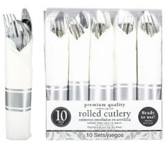 Rolled Silver Premium Plastic Cutlery Sets, 10ct