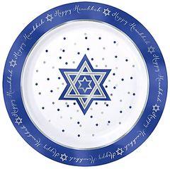 """Hanukkah Premium Plastic Round Plates, 7 1/2"""""""