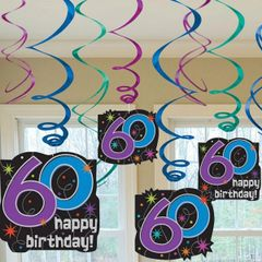 The Party Continues - 60 Value Pack Hanging Swirl Decorations