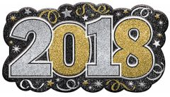 """2018"" Glitter Vac Form Sign - Black, Silver, Gold"
