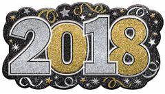 """2018"" Glitter Vac Form Sign - Black, Silver, Gold"
