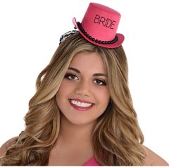 Pink Bride Top Hat - Sassy Bride