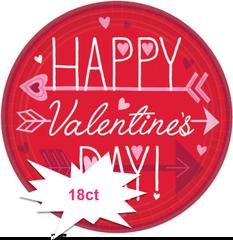 """Valentine Wishes Round Plates, 7"""" 18ct"""