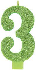 03 Giant Glitter Kiwi Green Number 3 Birthday Candle
