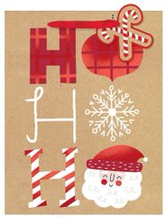 Ho Ho Ho Medium Vertical Kraft Bag w/ gift tag