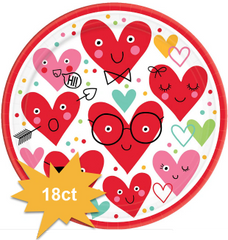 Heart Face Round Plates, 9""