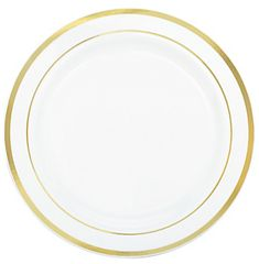 """White Gold-Trimmed Premium Plastic Lunch Plates, 7 1/2"""" - 20ct"""