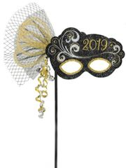 """2019"" New Year's Masquerade Mask On A Stick"