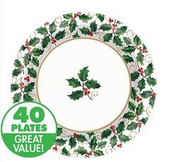 Medium Seasonal Holly Value Plates 40ct