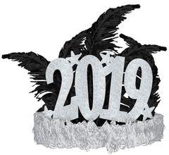 """""""2019"""" Silver Glitter Stars Tiara"""
