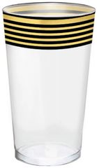 Black & Metallic Gold Stripe Premium Tumblers, 16oz - 16ct