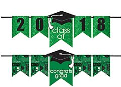 """2016-2019"" Grad Personalized Glitter Letter Banner Kit - Green"