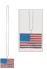 American Flag Pendant Bead Necklace