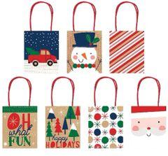 Kraft Christmas Gift Bags, 7ct