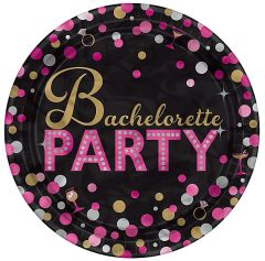 Bachelorette Night Round Metallic Plates, 7""
