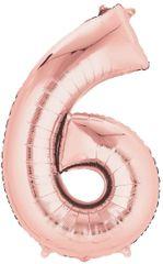 """34"""" Rose Gold #6 Mylar Balloon"""
