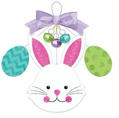 Bunny & Eggs and Bells Deluxe Sign w/ Wire Hanger