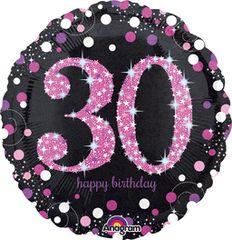 "Pink Sparkling 30th Celebration Balloon 18"""