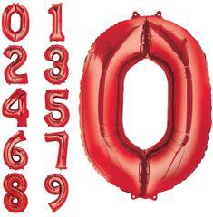 "34"" Red #0 Mylar Balloon"