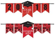 """2016-2019"" Grad Personalized Glitter Letter Banner Kit - Red"