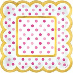 Pink Polka Dot Scalloped Appetizer Plates, 36ct