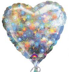 "Holographic Firework Heart Balloon 18"""