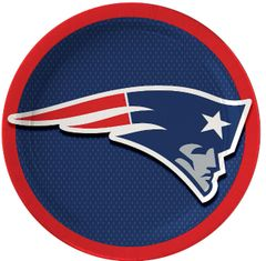 "New England Patriots 9"" Round Plates, 8ct"