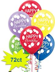 Balloon Bash Latex Balloons Assorted Colors, 72ct