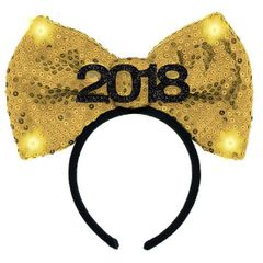 """2018"" New Year's Light Up Bow Headband"