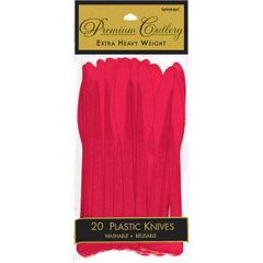 Apple Red Premium Heavy Weight Plastic Knives 20ct