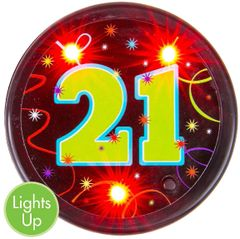 21st Brilliant Birthday Flashing Button