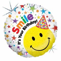 Smiley Birthday Hat Mylar 18in