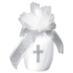 Votive Candle w/Cross - White