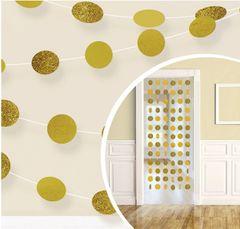 Glitter Gold Polka Dot String Decorations, 6ct