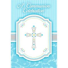 Blue Communion Invitations, 8ct