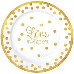 """""""Love"""" Round Premium Plastic Plates, 7 1/2"""""""