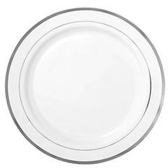 "White Silver-Trimmed Premium Plastic Appetizer Plates, 6 1/4"" - 20ct"
