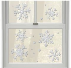 Glitter Silver Snowflake Gel Cling Decals, 16ct