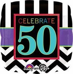"Celebrate 50th Birthday Balloon 17"""