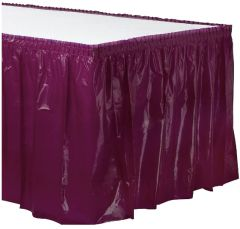 Berry Solid Color Plastic Table Skirt, 14' x 29""