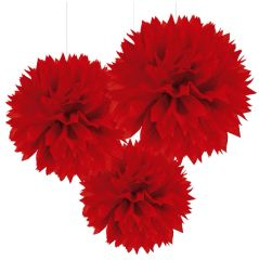 Red Fluffy Paper Decorations, 3ct