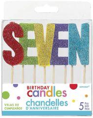 """07 """"S-E-V-E-N"""" Glitter Multi-Color Birthday Candles"""