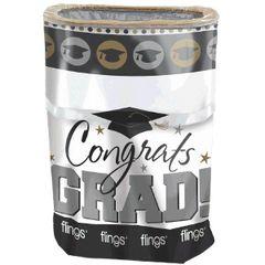 Black, Silver & Gold Grad Flings® Bin - Pop-Up Trash Bin