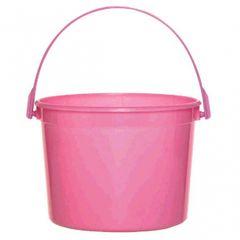 Bright Pink Plastic Bucket w/Handle