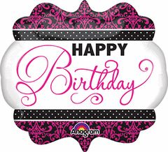 Happy Birthday Pink, Black, and White Super Shape Balloon 25""