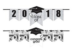 """2016-2019"" Grad Personalized Glitter Letter Banner Kit - White"