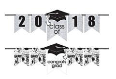 """""""2016-2019"""" Grad Personalized Glitter Letter Banner Kit - White"""