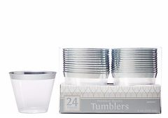 CLEAR Silver-Trimmed Premium Plastic Cups, 9oz - 24ct