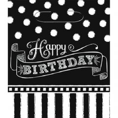 Black & White Happy Birthday Loot Bags, 8ct