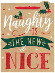 Naughty Nice Medium Vertical Kraft Bag w/ gift tag